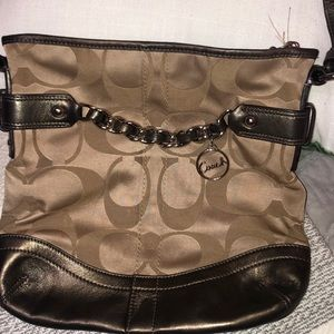 Coach signature crossbody - tan- good condition